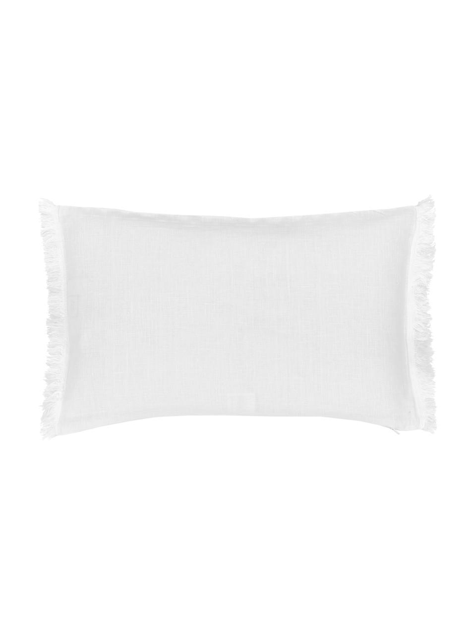 Poszewka na poduszkę z lnu z frędzlami Luana, 100% len, Kremowobiały, S 30 x D 50 cm