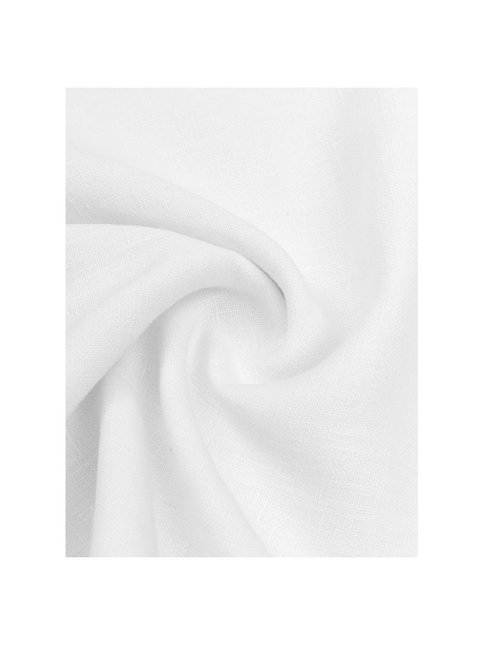 Linnen kussenhoes Luana in crèmewit met franjes, 100% linnen, Crèmewit, 30 x 50 cm