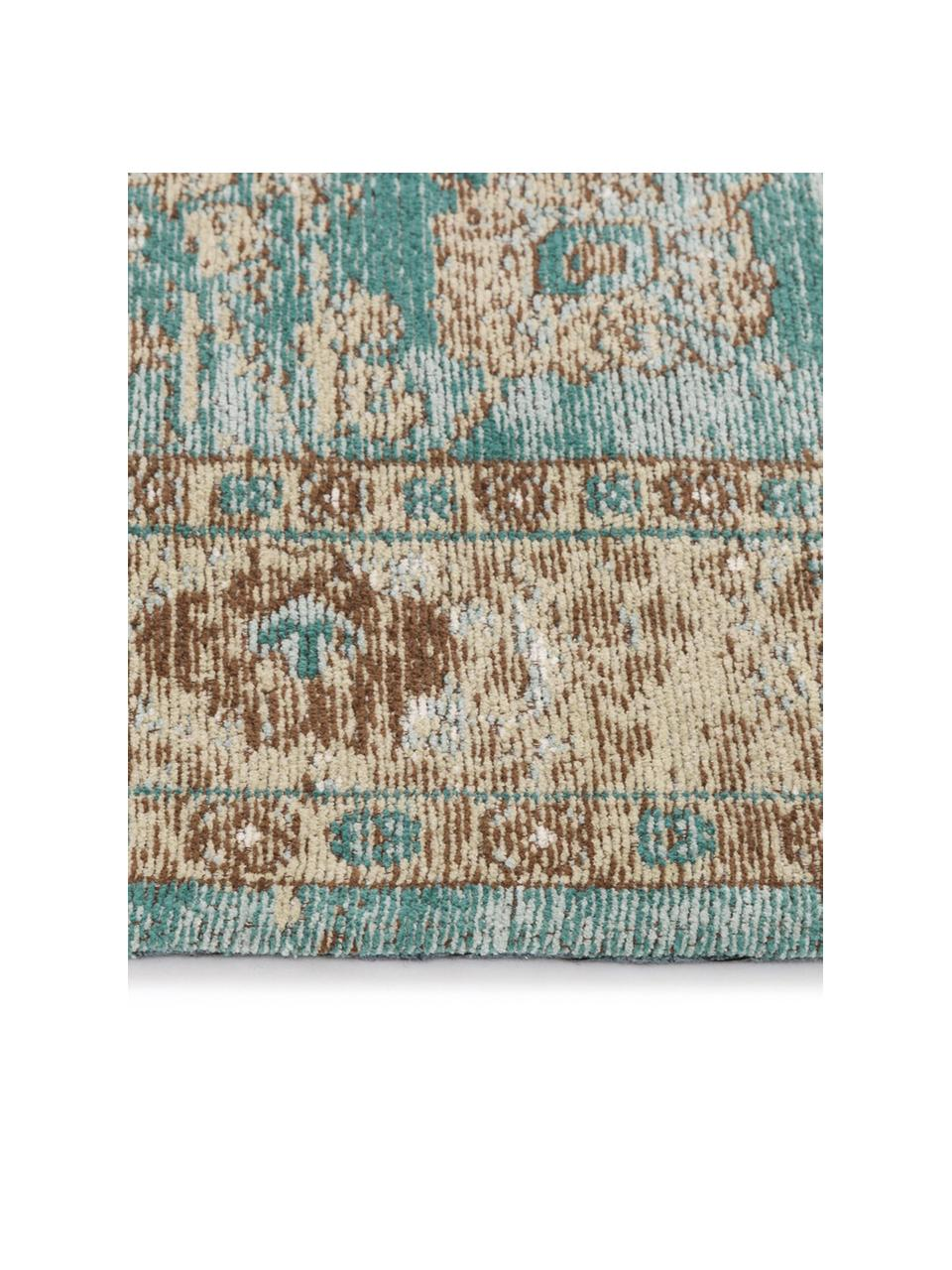 Tappeto in ciniglia tessuto a mano Rimini, Retro: 100% cotone, Turchese, taupe, marrone, Larg. 120 x Lung. 180 cm (taglia S)