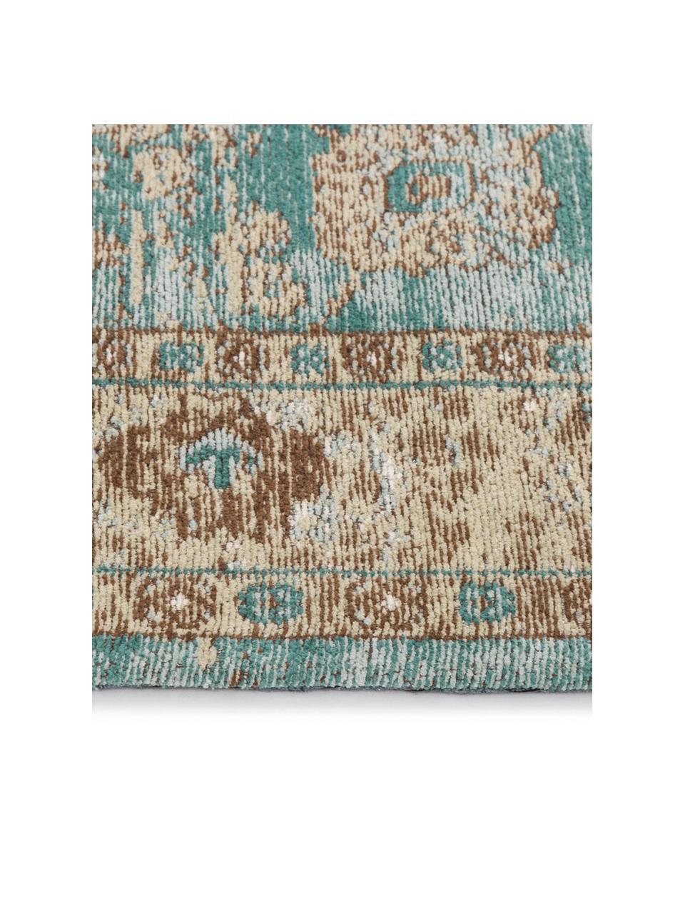 Vintage chenille vloerkleed Rimini in turquoise-bruin, handgeweven, Bovenzijde: 95% katoen, 5% polyester, Onderzijde: 100% katoen, Turquoise, taupe, bruin, B 120 x L 180 cm (maat S)