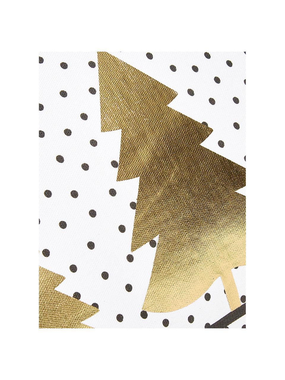 Federa arredo con abeti dorati Yule, Cotone, Bianco, nero, dorato, Larg. 40 x Lung. 40 cm