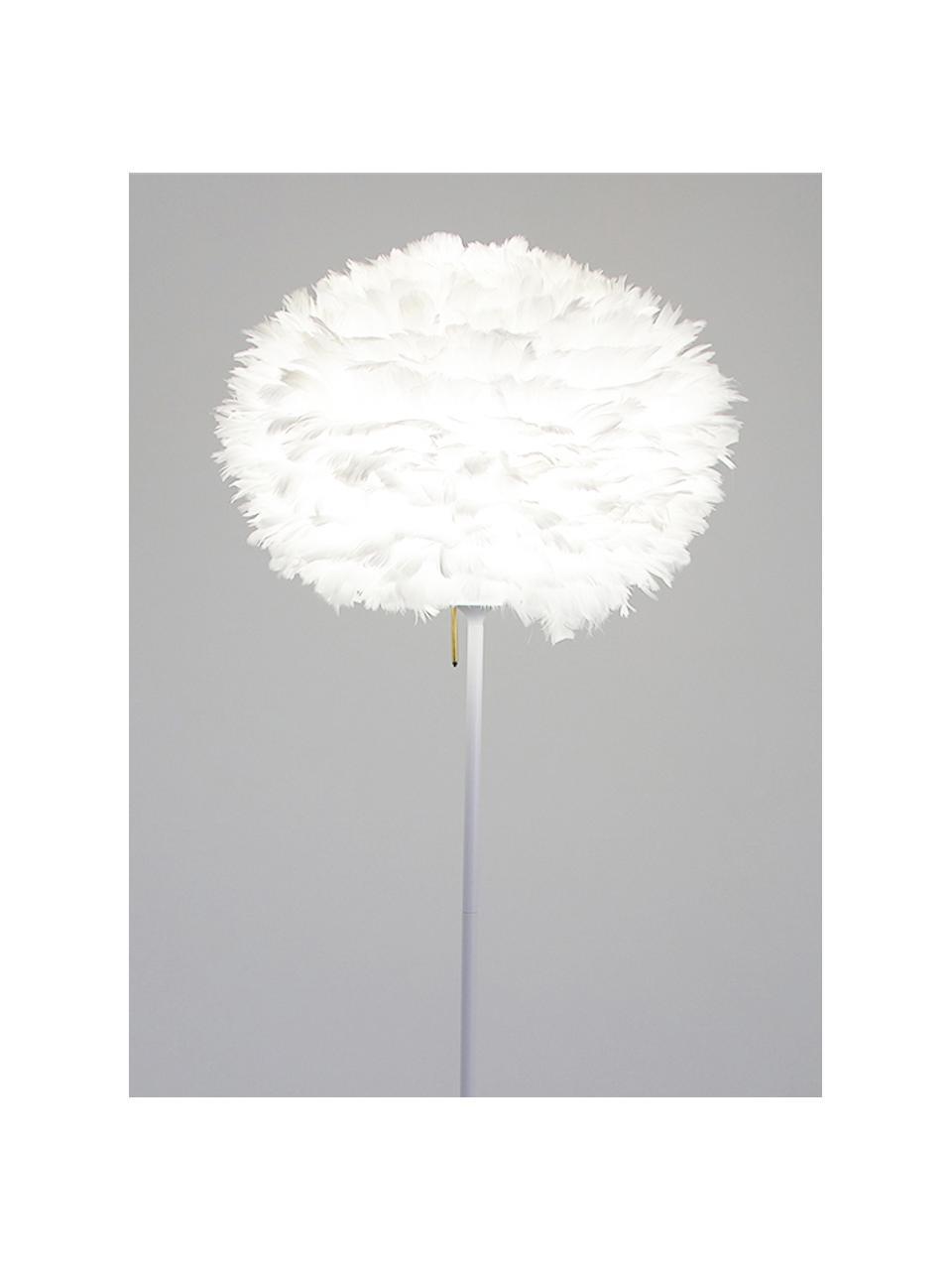 Große Stehlampe Eos aus Federn, Lampenschirm: Gänsefedern, Gestell: Aluminium, lackiert, Lampenfuß: Stahl, lackiert, Weiß, Ø 45 x H 170 cm