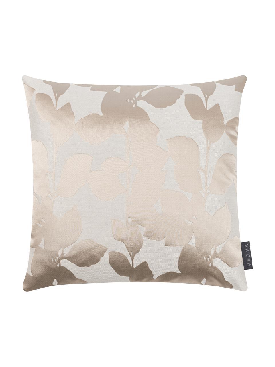 Kissenhülle Ariela in Beige mit glänzenden Blättermotiven, Vorderseite: 35% Polyester, 34% Viskos, Rückseite: 100% Polyester, Beige, 40 x 40 cm