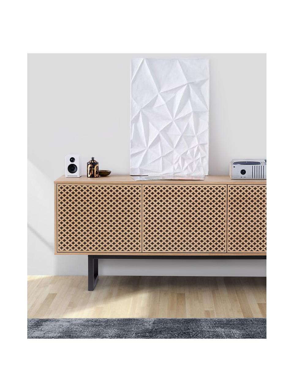 Credenza di design con finitura di quercia Camden, Piedini: legno di betulla vernicia, Legno di quercia, Larg. 175 x Alt. 75 cm