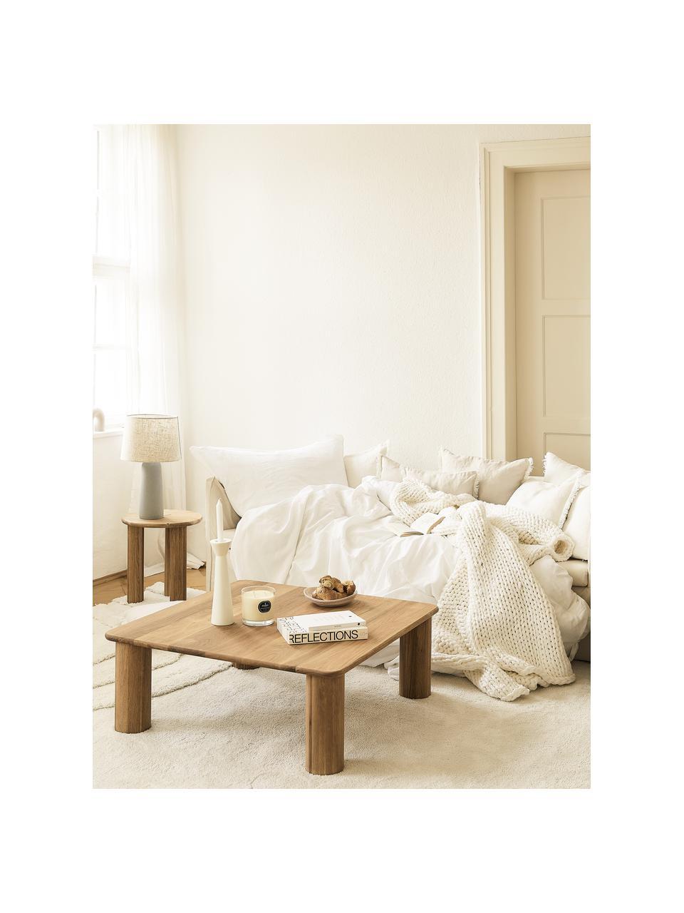 Tavolino da salotto in legno di quercia Didi, Legno massiccio di quercia oliato, Marrone, Larg. 90 x Alt. 35 cm