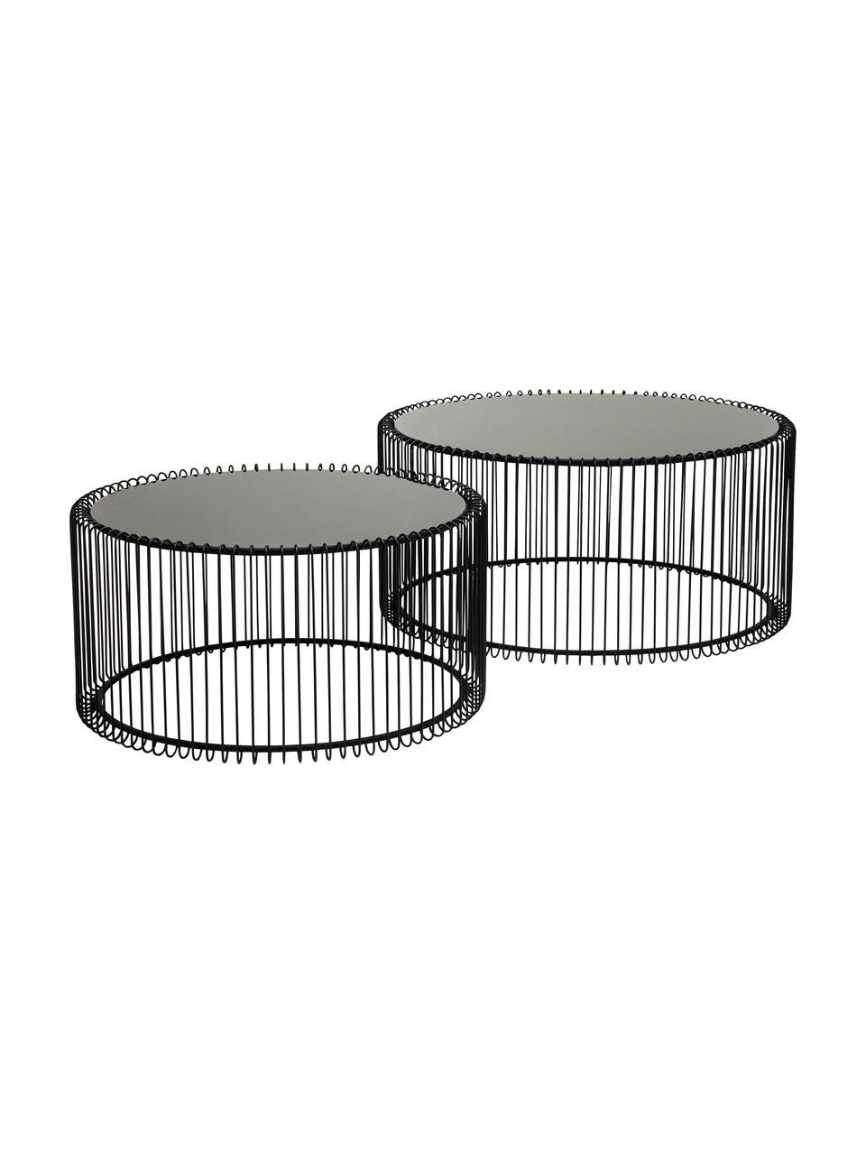 Metalen salontafel 2-delig Wire met glazen tafelblad, Frame: gepoedercoat metaal, Tafelblad: veiligheidsglas, in folie, Zwart, Set met verschillende formaten