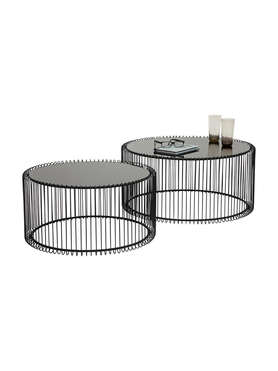 Komplet stolików kawowych z metalu ze szklanym blatem Wire, 2 elem., Stelaż: metal malowany proszkowo, Blat: szkło hartowane, foliowan, Czarny, Komplet z różnymi rozmiarami