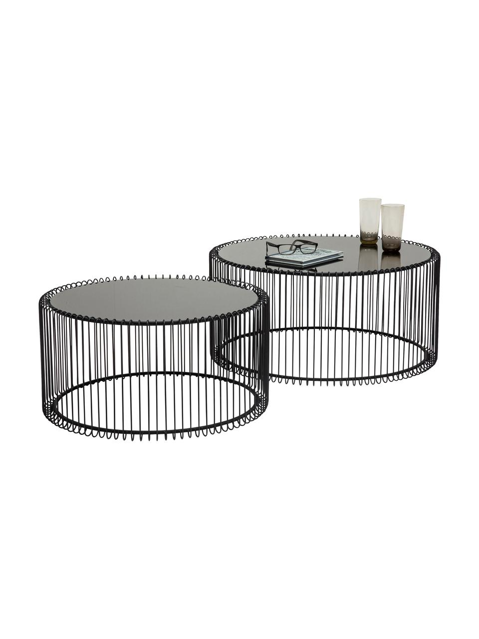 Set 2 tavolini da salotto con piano in vetro Wire, Struttura: acciaio verniciato a polv, Piano d'appoggio: vetro temperato, Nero, Set in varie misure