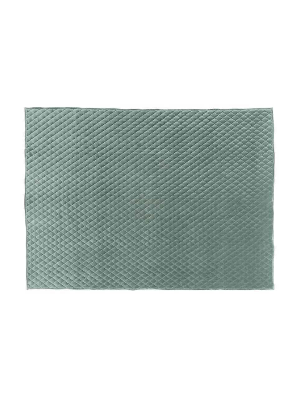 Wattierte Samt-Tagesdecke Cosima, Vorderseite: Baumwollsamt, Rückseite: Baumwolle, Salbeigrün, B 160 x L 220 cm (für Betten bis 140 x 200)