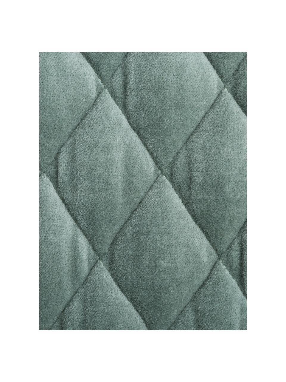 Copriletto imbottito in velluto Cosima, Retro: cotone, Verde salvia, Larg. 160 x Lung. 220 cm (per letti fino a 140 x 200)