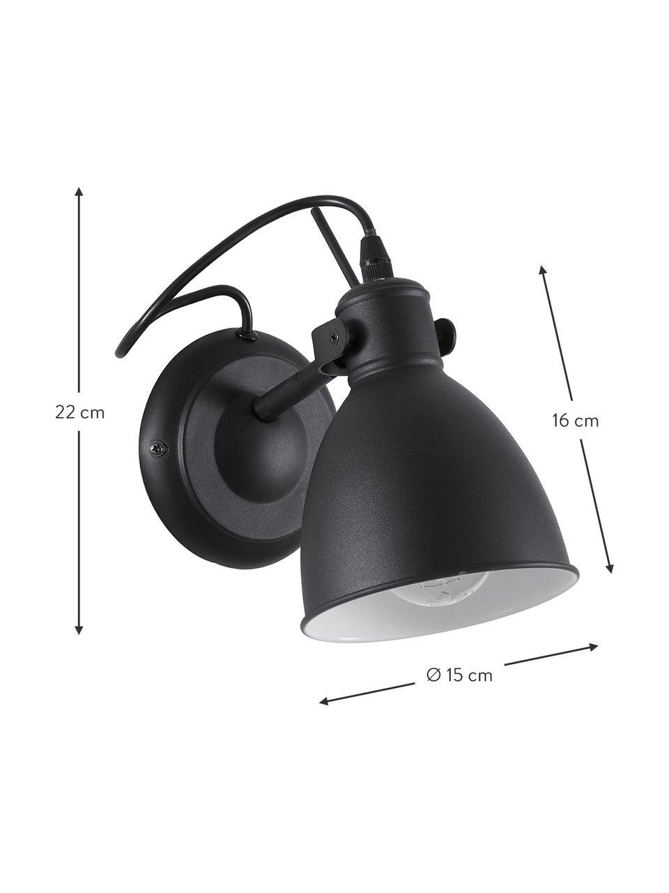 Applique nero Ethan, Baldacchino: metallo verniciato a polv, Paralume: metallo verniciato a polv, Nero, Ø 15 x Alt. 22 cm