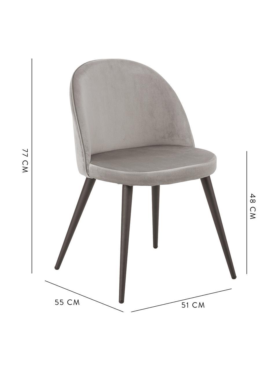 Krzesło tapicerowane z aksamitu Amy, 2 szt., Tapicerka: aksamit (poliester) Dzięk, Nogi: metal malowany proszkowo, Szary, S 51 x G 55 cm