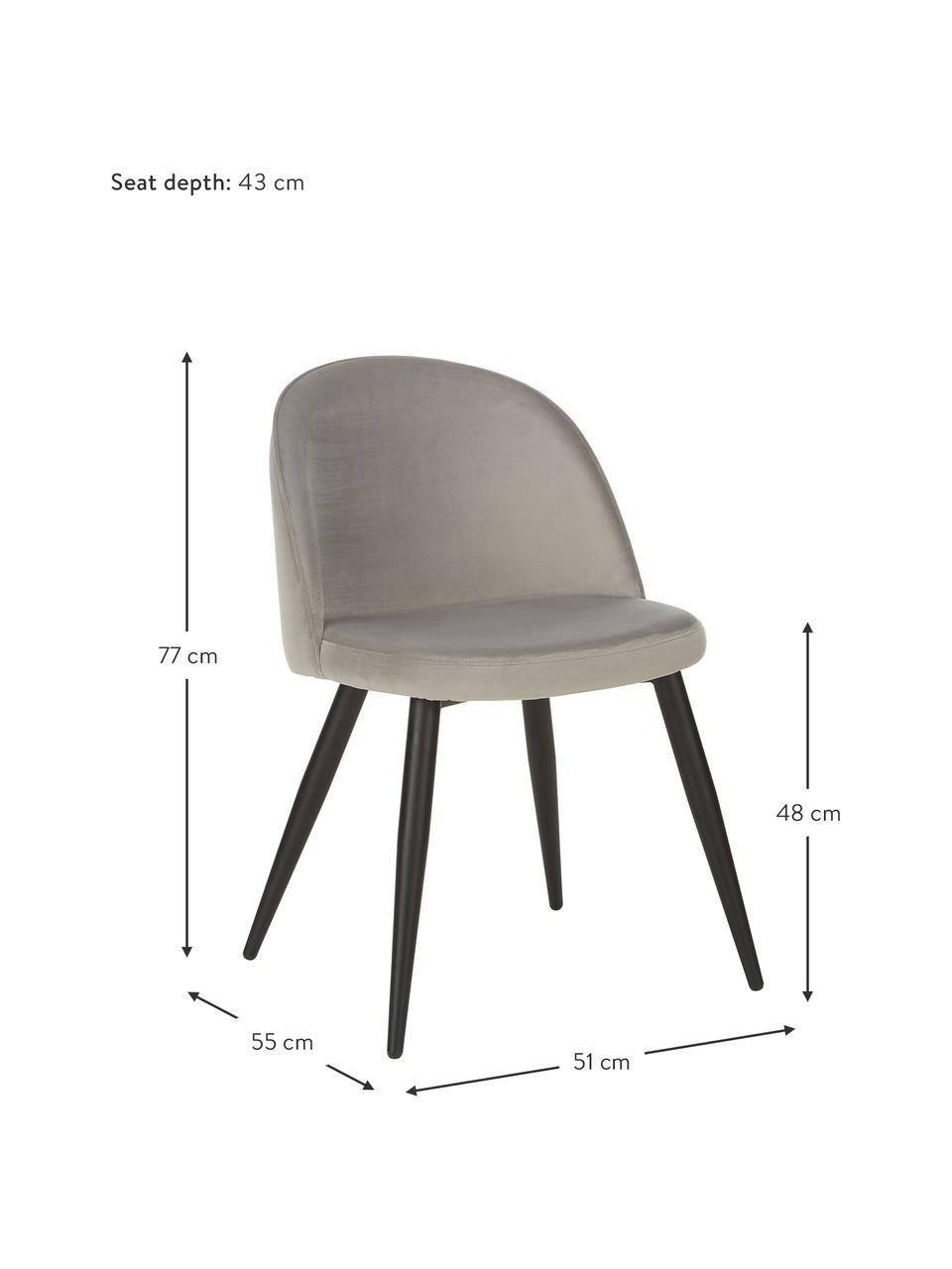 Moderne Samt-Polsterstühle Amy, 2 Stück, Bezug: Samt (Polyester) Der hoch, Beine: Metall, pulverbeschichtet, Samt Grau, B 51 x T 55 cm