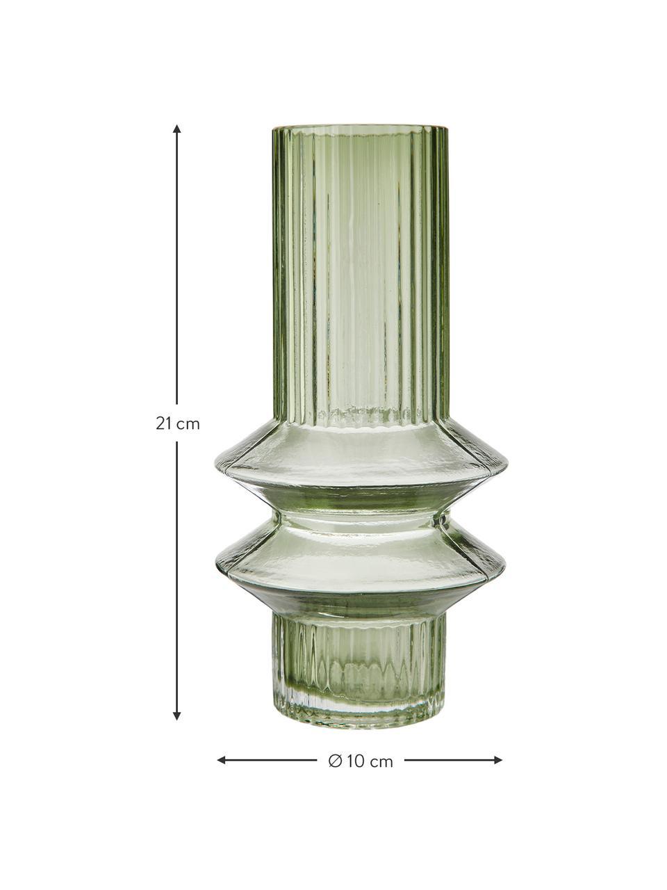 Transparante glazen vaas Rilla met een groene glans, Glas, Groen, Ø 10 x H 21 cm