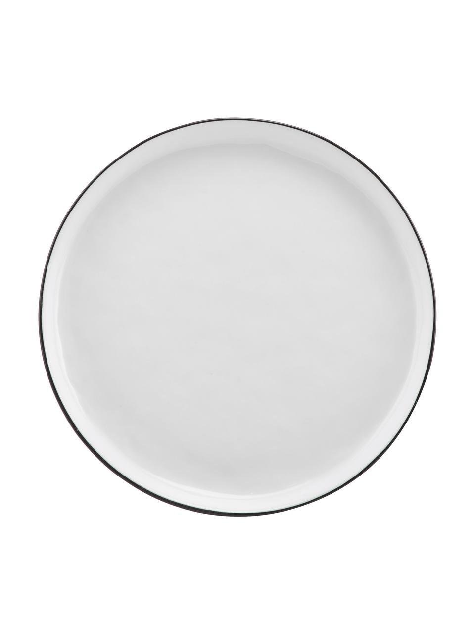 Handgemaakte bordenset Salt, 12-delig, Porselein, Gebroken wit, zwart, Set met verschillende formaten