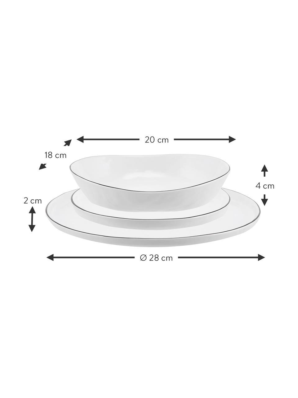 Handgemachtes Geschirr-Set Salt mit schwarzem Rand, 4 Personen (12-tlg.), Porzellan, Gebrochenes Weiß, Schwarz, Sondergrößen