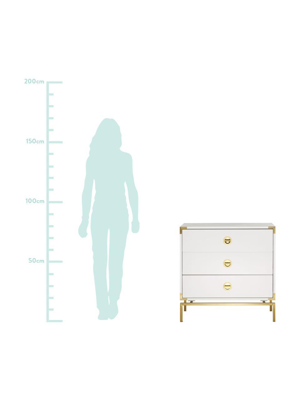 Cassettiera bianca Elegance, Bianco, Larg. 80 x Alt. 80 cm