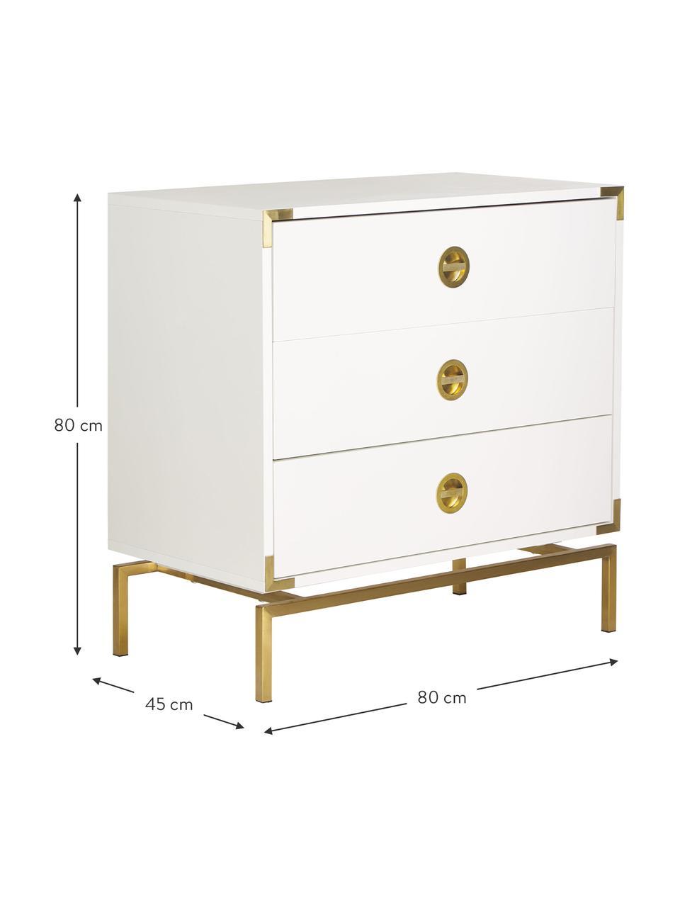 Kommode Elegance in Weiß, Korpus: Mitteldichte Holzfaserpla, Weiß, 80 x 80 cm