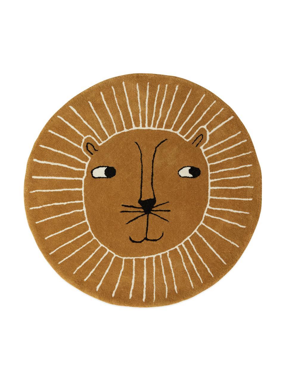 Dywan z wełny Lion, 80% wełna, 20% bawełna, Karmelowy brązowy, czarny, biały, Ø 95 cm