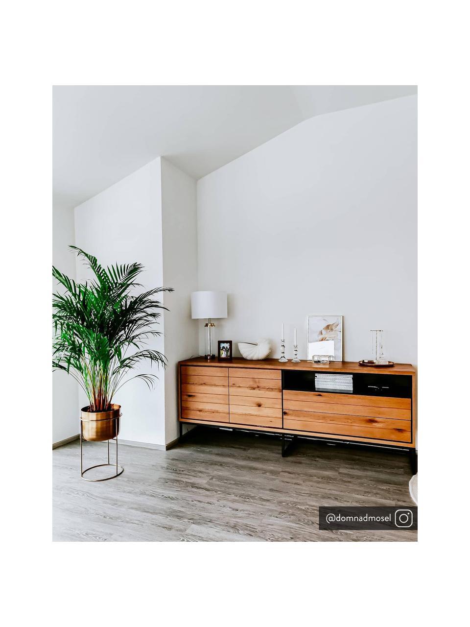 Sideboard Dalarna mit Türen und Eichenholzfurnier, Korpus: Mitteldichte Holzfaserpla, Wildeiche, Schwarz, 197 x 76 cm