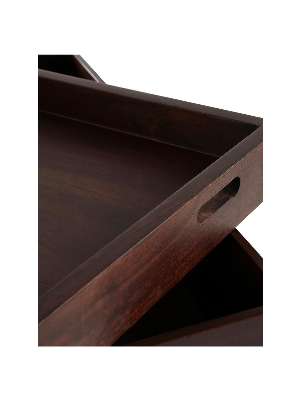 Tavolino da salotto con contenitore Graham, Legno di mango rivestito, Marrone, Larg. 120 x Prof. 120 cm