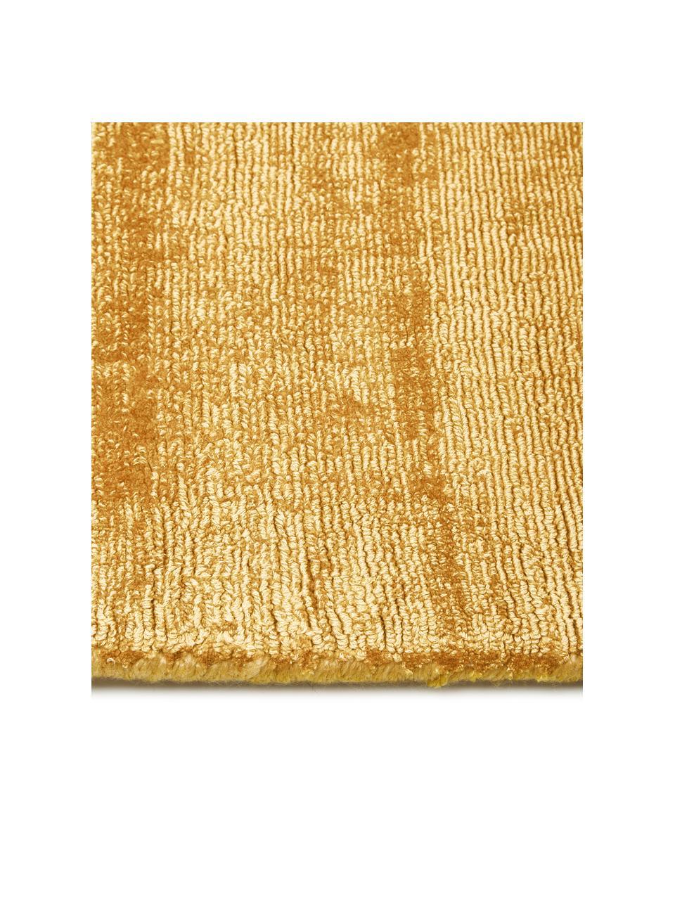 Ręcznie tkany dywan z wiskozy Jane, Musztardowy, S 80 x D 150 cm (Rozmiar XS)