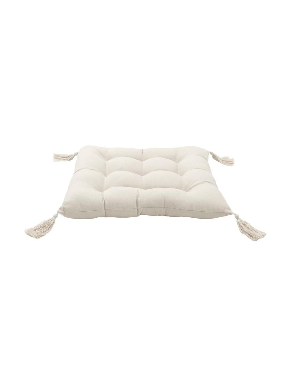 Sitzkissen Ava in Beige mit Quasten, Bezug: 100% Baumwolle, Beige, 40 x 40 cm