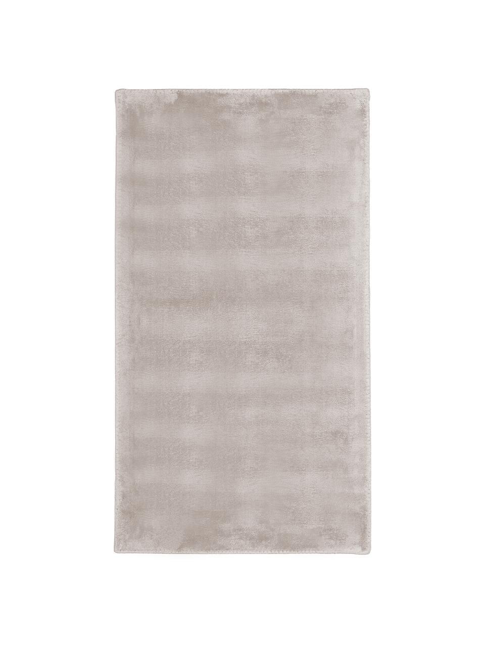Tappeto morbido in viscosa scintillante Grace, Retro: 100% poliestere, Taupe, Larg. 80 x Lung. 150 cm (taglia XS)