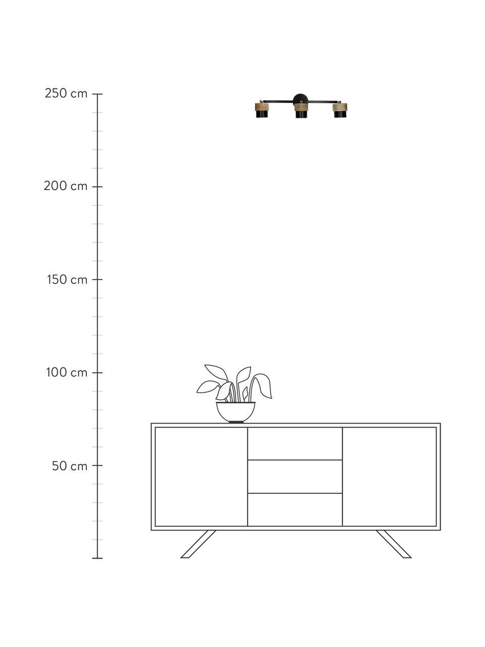 Wand- und Deckenstrahler Susan aus Mangoholz, Lampenschirm: Mangoholz, Metall, beschi, Baldachin: Metall, beschichtet, Dekor: Metall, Schwarz, Braun, Messingfarben, 50 x 14 cm