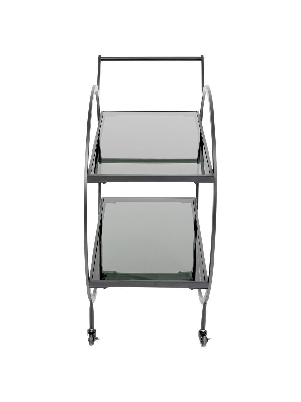 Carrello di servizio in metallo con ripiani in vetro Loft, Struttura: metallo, verniciato a pol, Ripiani: vetro temperato, colorato, Nero, Larg. 74 x Alt. 85 cm