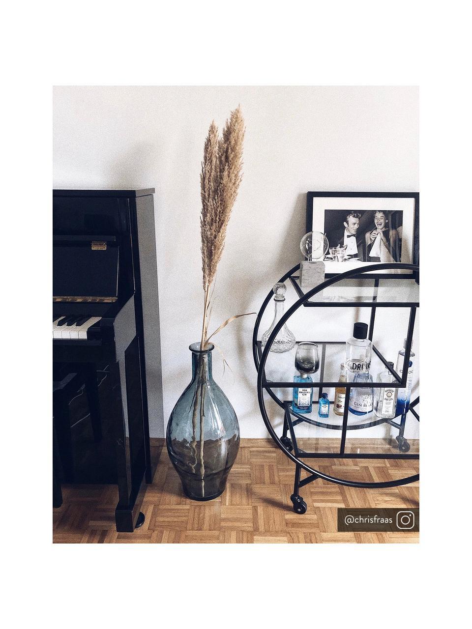 Metalen barcart Loft met glasplaten, Frame: gepoedercoat metaal, Zwart, 74 x 85 cm
