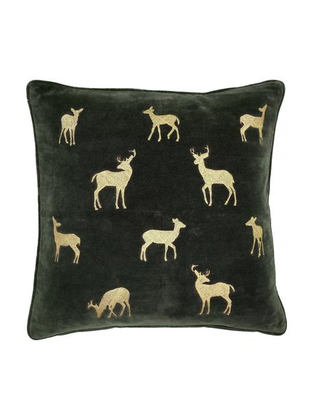 Bestickte Samt-Kissenhülle Deerhunter in Grün/Gold, 100% Baumwollsamt, Dunkelgrün, Goldfarben, 50 x 50 cm
