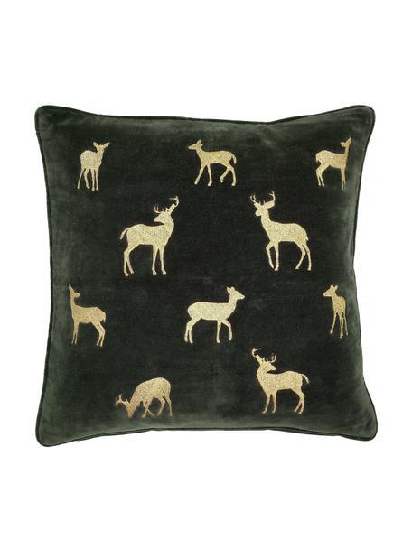 Geborduurde fluwelen kussenhoes Deerhunter in groen/goudkleur, 100% katoenfluweel, Donkergroen, goudkleurig, 50 x 50 cm