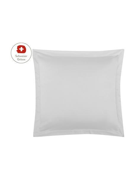 Baumwollsatin-Kissenbezug Premium in Hellgrau mit Stehsaum, 65 x 65 cm, Webart: Satin, leicht glänzend Fa, Hellgrau, 65 x 65 cm