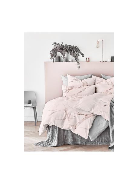 Parure copripiumino in percalle Malin, Fronte: modello in marmo, rosa Retro: rosa, monocolore, 155 x 200 cm