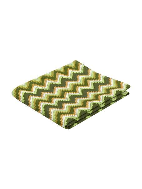 Mantel Zigzag antimanchas de teflón, 100%poliéster con revestimiento de teflón, Verde, Para 2 comesales (An 135 x L 100 cm)