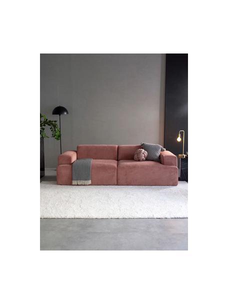 Sofá de pana Melva (3plazas), Tapizado: pana (92%poliéster, 8%p, Estructura: madera de pino maciza, ce, Patas: plástico, Pana rosa, An 238 x F 101 cm