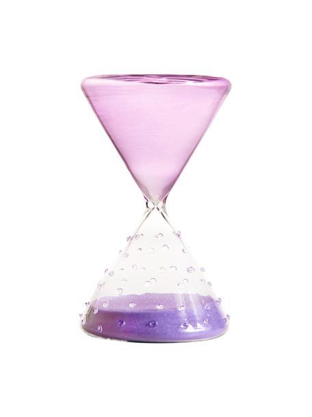 Dekoracja Hourglass, Szkło, Lila, transparentny, Ø 10 x W 16 cm