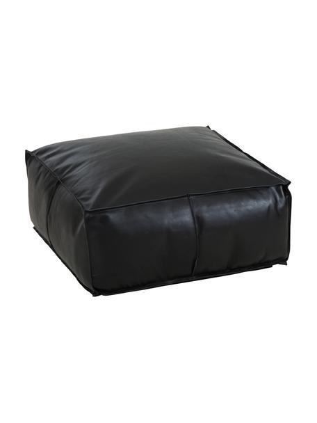 Grote leren poef Arabica, Bekleding: buffelleer, nappaleer, Onderzijde: katoen, Zwart, 70 x 30 cm