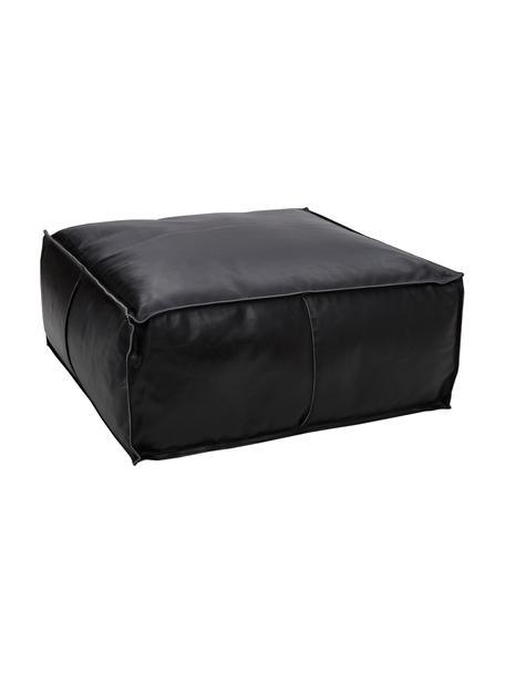 Poduszka podłogowa ze skóry Arabica, Tapicerka: skóra bawoła, wykończenie, Czarny, S 70 x W 30 cm