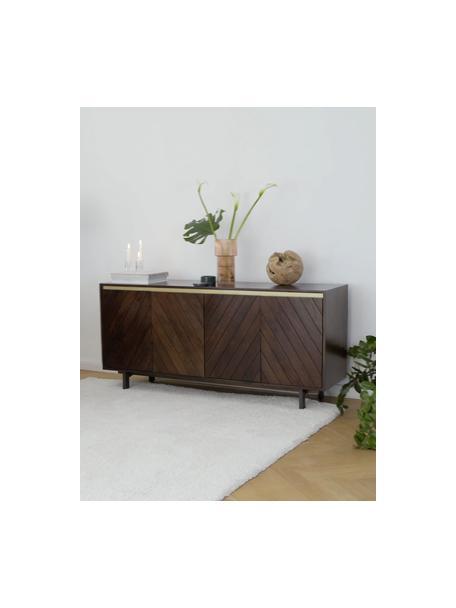 Komoda z litego drewna mangowego z drzwiczkami Karl, Korpus: lite drewno mangowe, laki, Nogi: metal malowany proszkowo, Drewno mangowe, odcienie złotego, S 165 x W 61 cm