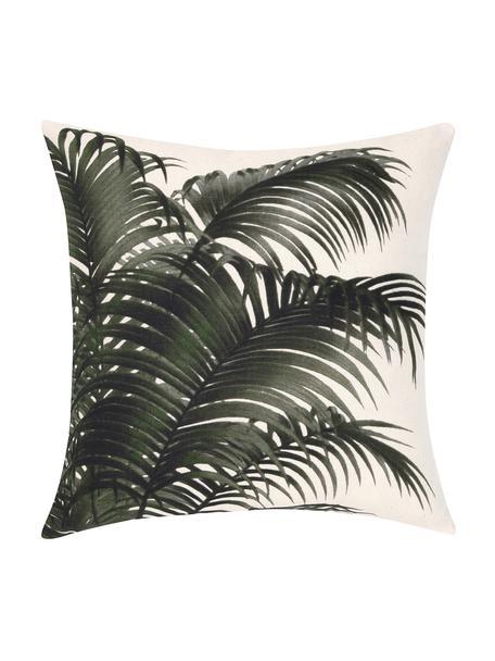 Kussenhoes Palmeira met palmenprint, 100% katoen, Ecru, groen, 40 x 40 cm