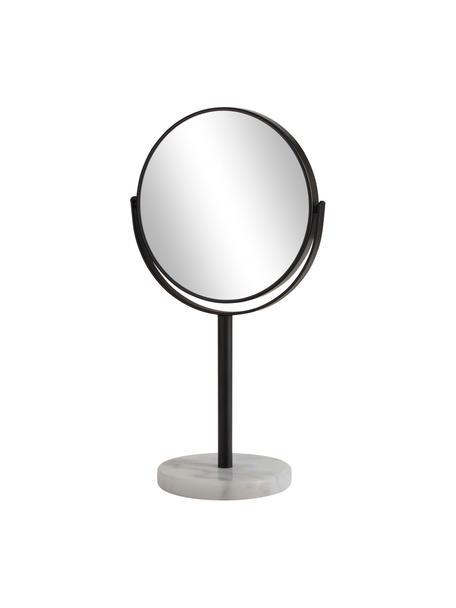 Runder Kosmetikspiegel Ramona mit weißem Marmorfuß, Rahmen: Metall, Fuß: Marmor, Spiegelfläche: Spiegelglas, Schwarz, Weiß, Ø 20 x H 34 cm