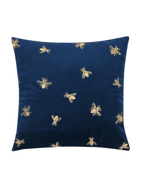 Bestickte Samt-Kissenhülle Nora in Blau/Gold, 100% Polyestersamt, Navyblau, 45 x 45 cm