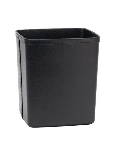 Kosz na śmieci ze sztucznej skóry Lola, Tapicerka: sztuczna skóra, Stelaż: płyta pilśniowa średniej , Czarny, S 25 x W 29 cm