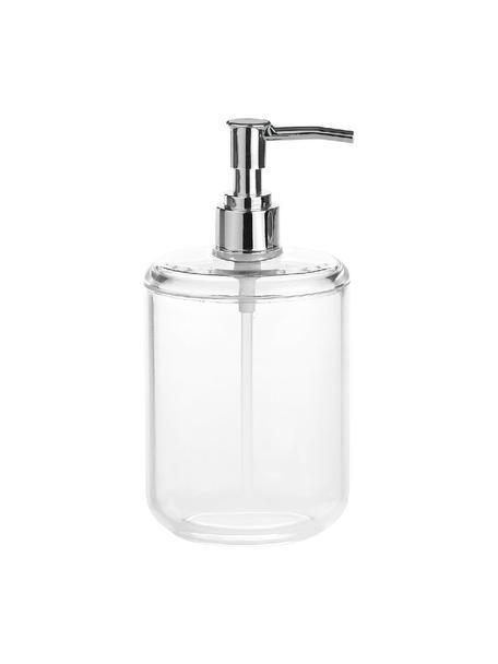 Dispenser sapone in vetro acrilico Delan, Contenitore: vetro acrilico, Testa della pompa: materiale sintetico, Trasparente, cromo, Ø 7 x Alt. 19 cm