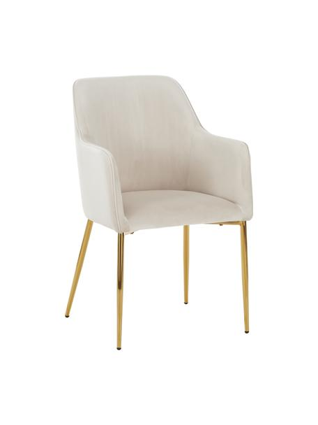 Sedia in velluto beige Ava, Rivestimento: velluto (100% poliestere), Gambe: metallo zincato, Velluto beige, Larg. 57 x Prof. 63 cm