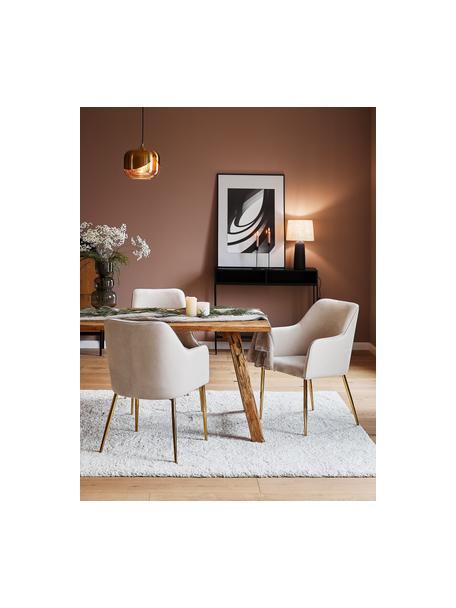 Krzesło z podłokietnikami z aksamitu Ava, Tapicerka: aksamit (100% poliester) , Nogi: metal galwanizowany, Aksamitny beżowy, nogi: złoty, S 57 x G 63 cm