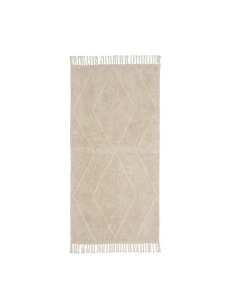 Handgetuft Boho katoenen vloerkleed Luna met franjes, Beige,wit, B 80 x L 150 cm (maat XS)
