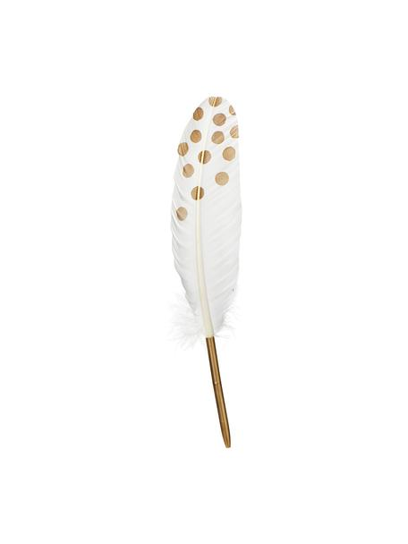 Pluma Punkte, Pluma real, metal, Blanco, dorado, An 2 x Al 28 cm
